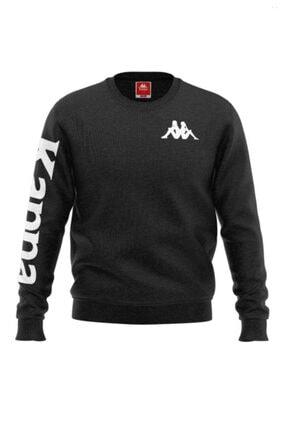 Erkek Siyah Kappa Baskılı Sweatshirt 1-304VF70