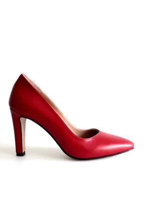 Beta Shoes Kadın Hakiki Deri Topuklu Ayakkabı Kırmızı 3