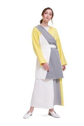 Mizalle Parçalı Kuş Gözlü Iki Iplik Kimono (sarı) 1