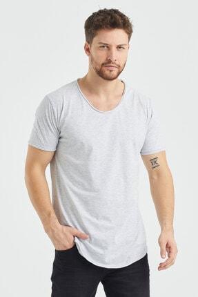 Tarz Cool Erkek Gri  Salaş T-shirt 0