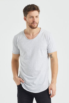 Tarz Cool Erkek Gri  Salaş T-shirt 2