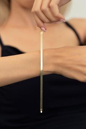 İzla Design Kadın Altın Kaplama Yassı Model Gümüş İtalyan Bileklik PKT-TLYSLVR0002 1