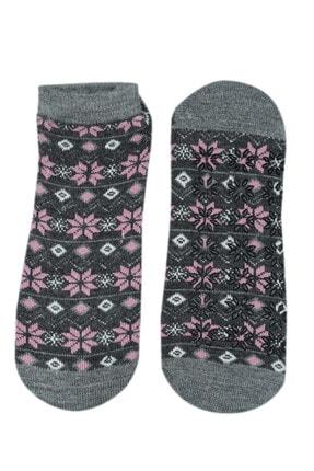 NZR GROUP Kadın Gri Termal Çorap Poffy Kaydırmaz Tabanlı 0