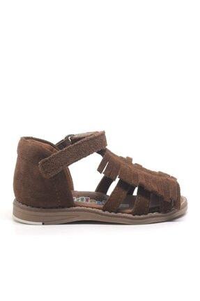 Toddler Kız Bebek Kahverengi Hakiki Deri Püsküllü Ortopedik  Sandalet 1