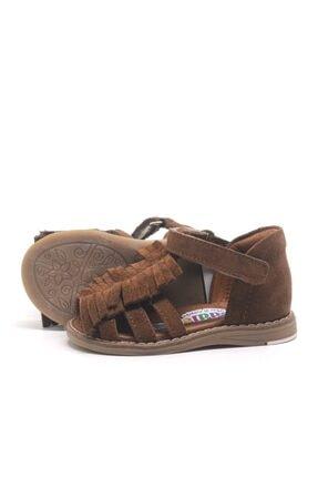 Toddler Kız Bebek Kahverengi Hakiki Deri Püsküllü Ortopedik  Sandalet 3