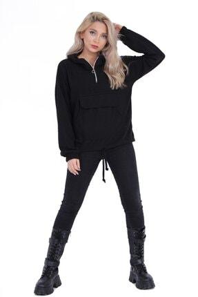 sert vip Kadın Siyah Yarım Fermuarlı Sweatshirt 0
