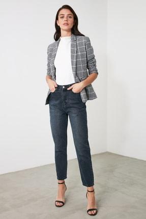 TRENDYOLMİLLA Lacivert Yüksek Bel Mom Jeans TWOAW21JE0835 2