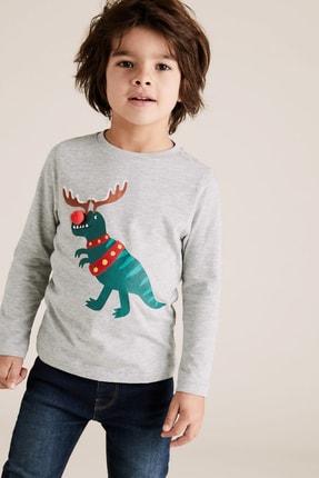 Marks & Spencer Erkek Çocuk Pamuklu T-Rex Desenli T-Shirt 0