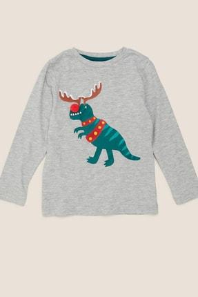 Marks & Spencer Erkek Çocuk Pamuklu T-Rex Desenli T-Shirt 3