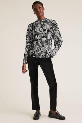 Marks & Spencer Kadın Siyah Çiçek Desenli Dik Yakalı Bluz T43003257 1