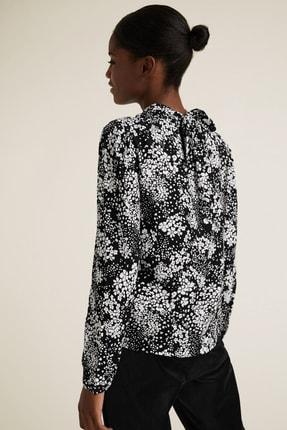Marks & Spencer Kadın Siyah Çiçek Desenli Dik Yakalı Bluz T43003257 2