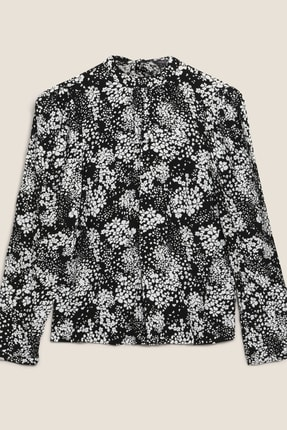Marks & Spencer Kadın Siyah Çiçek Desenli Dik Yakalı Bluz T43003257 4