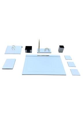 Ömür Ofis Masaüstü 8 Parça Deri Sümen Takımı - Beyaz 1