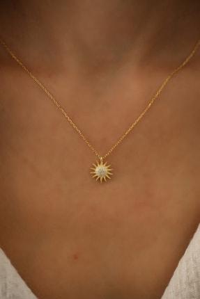 İzla Design Kadın Güneş Model Altın Kaplama Zirkon Taşlı Gümüş Kolye PKT-İZLASLVR00661 1