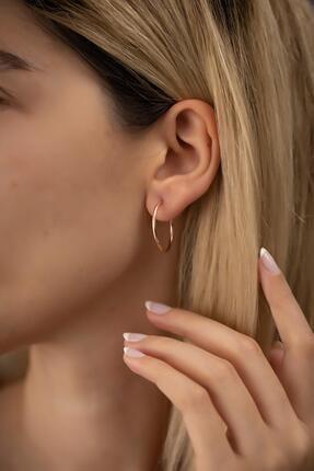İzla Design Kadın Halka Model Rose Kaplama Gümüş İtalyan Küpe 1