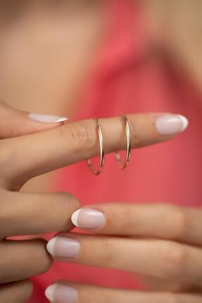 İzla Design Kadın Halka Model Rose Kaplama Gümüş İtalyan Küpe 2