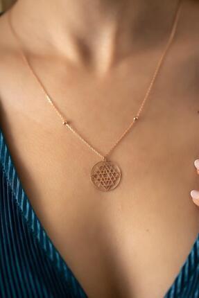İzla Design Kadın Rose Kaplama Gümüş Sri Yantra Kolyesi 1