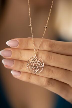 İzla Design Kadın Rose Kaplama Gümüş Sri Yantra Kolyesi 2