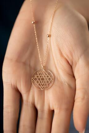 İzla Design Kadın Rose Kaplama Gümüş Sri Yantra Kolyesi 3