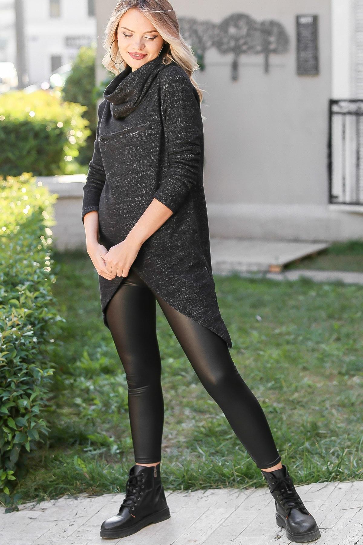 Chiccy Kadın Siyah Bohem Dev Boğazlı Anvelop Fermuarlı Dev Cep Detaylı Sweat M10010700SW99231 3