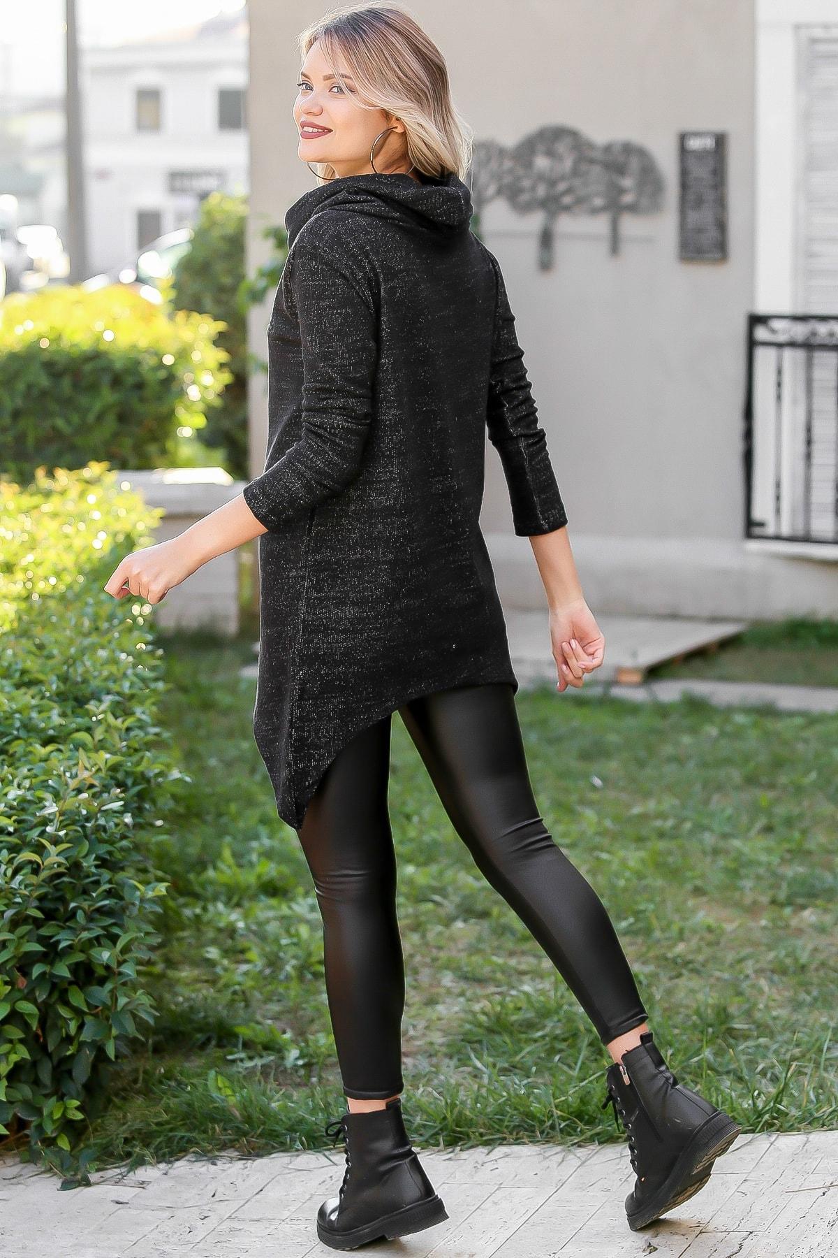 Chiccy Kadın Siyah Bohem Dev Boğazlı Anvelop Fermuarlı Dev Cep Detaylı Sweat M10010700SW99231 4