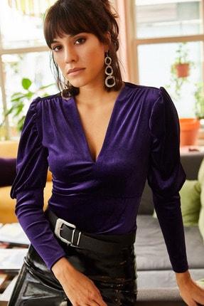 Olalook Kadın Mor Kol Detaylı V Yaka Kadife Bluz BLZ-19001221 1