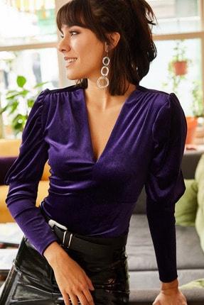 Olalook Kadın Mor Kol Detaylı V Yaka Kadife Bluz BLZ-19001221 2