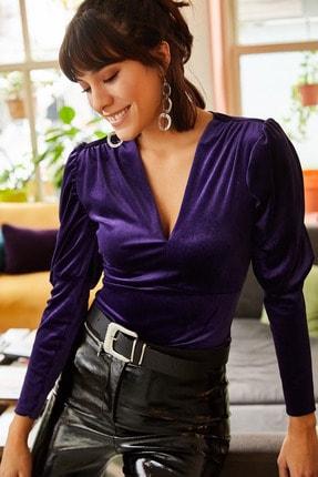 Olalook Kadın Mor Kol Detaylı V Yaka Kadife Bluz BLZ-19001221 3