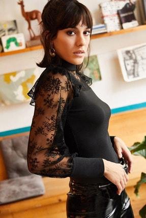 Olalook Kadın Siyah Balon Kol Fırfırlı Dantel Detaylı Krep Bluz BLZ-19001223 2