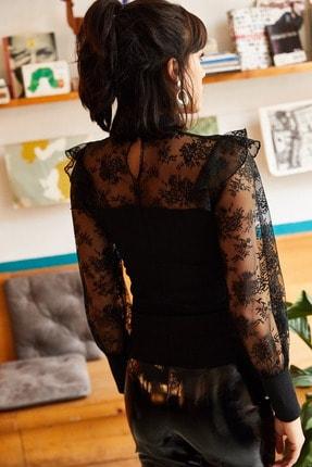 Olalook Kadın Siyah Balon Kol Fırfırlı Dantel Detaylı Krep Bluz BLZ-19001223 3