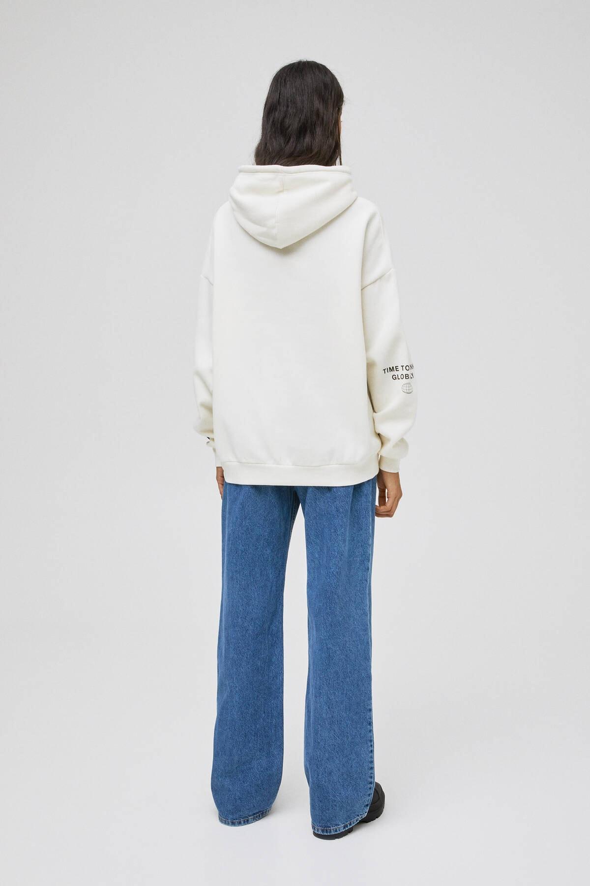 Pull & Bear Kadın Buz Rengi Palmiye Desenli Kapüşonlu Sweatshirt 04591338