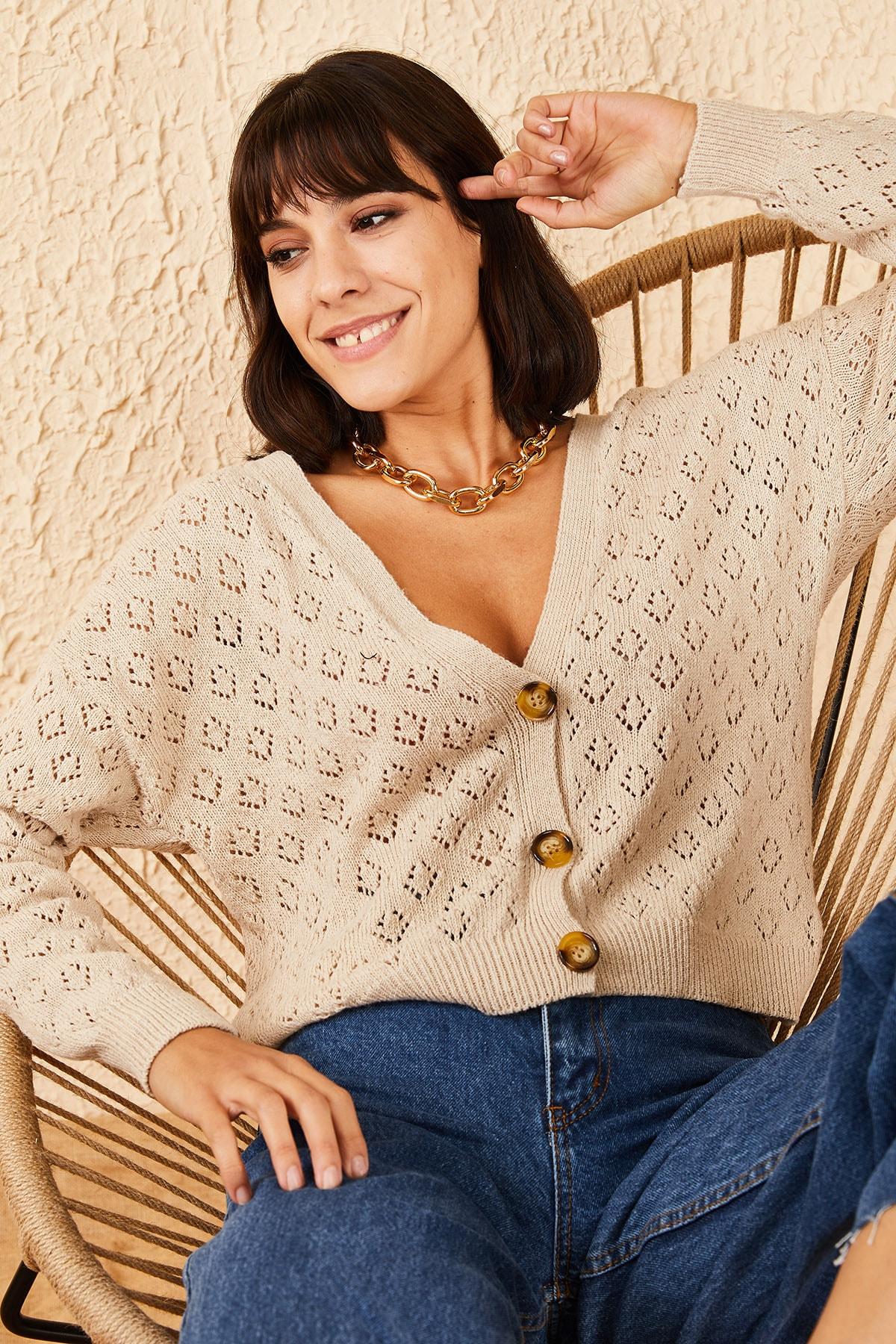 Bianco Lucci Kadın Baklava Desenli 3 Düğmeli Hırka 20011002 1