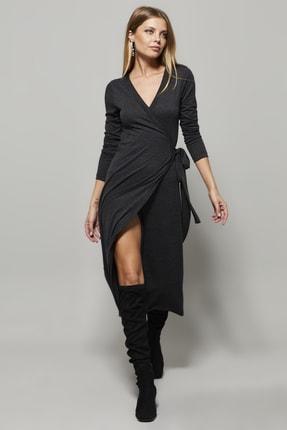 تصویر از Kadın Antrasit Kruvaze Maxi Elbise EY1135