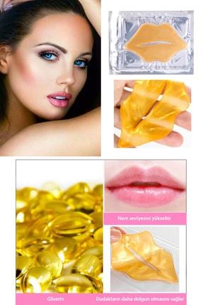 Xolo Gold Dudak Maskesi 10 Adet 24K Kristal Kolajen Dudak Maske Dudak Altın Maske 24 Ayar Altın 1