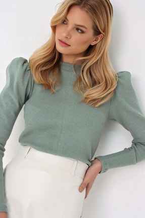 Trend Alaçatı Stili Kadın Çağla Yeşili Prenses Kol Yarım Balıkçı Şardonlu Crop Bluz ALC-X5042 0