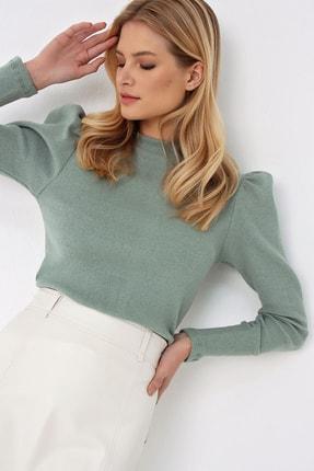 Trend Alaçatı Stili Kadın Çağla Yeşili Prenses Kol Yarım Balıkçı Şardonlu Crop Bluz ALC-X5042 4