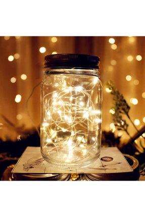GLR Peri Led Aydınlatmalı Dekoratif Cam Kavanoz, Fener, Gece Lambası. Pilli, Gün Işığı(sarı).su Geçirmez 0