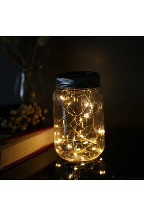 GLR Peri Led Aydınlatmalı Dekoratif Cam Kavanoz, Fener, Gece Lambası. Pilli, Gün Işığı(sarı).su Geçirmez 3