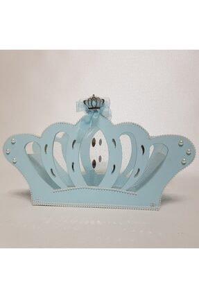 Sevgi Bağı Ahşap Kral Tacı Bebek Şekeri Sepeti Hediyelik Sepeti Mavi Mavi 0