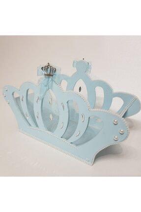 Sevgi Bağı Ahşap Kral Tacı Bebek Şekeri Sepeti Hediyelik Sepeti Mavi Mavi 1