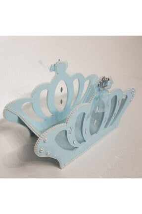 Sevgi Bağı Ahşap Kral Tacı Bebek Şekeri Sepeti Hediyelik Sepeti Mavi Mavi 2