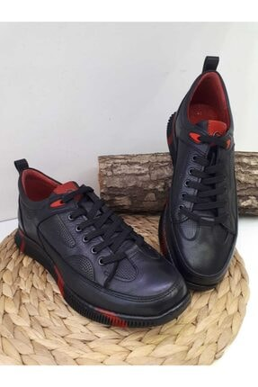 MARCO ROSSİ Erkek Siyah Hakiki Deri Günlük Spor Ayakkabı 0