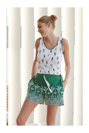 Feyza Kadın Yeşil Pijama Takımı Ev Kıyafeti 0