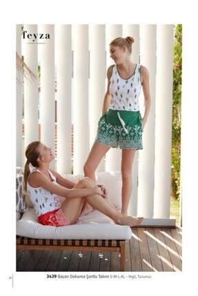 Feyza Kadın Yeşil Pijama Takımı Ev Kıyafeti 1