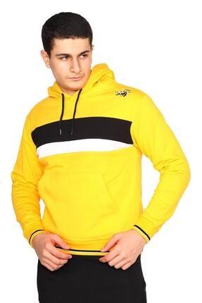 Bessa Sport Erkek Sarı Kapişonlu Kanguru Cepli Sweatshirt 0