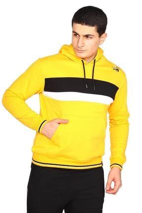Bessa Sport Erkek Sarı Kapişonlu Kanguru Cepli Sweatshirt 1