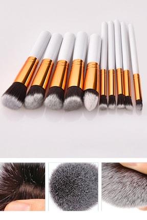 Xolo Profesyonel 10'lu Fiber Makyaj Fırça Seti Fondöten Far Kapatıcı - Beyaz 1