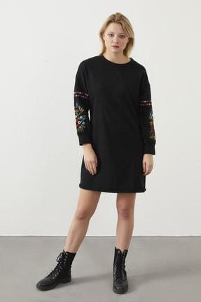 ELBİSENN Kadın Siyah Kolları Nakış Detay Spor Elbise 1
