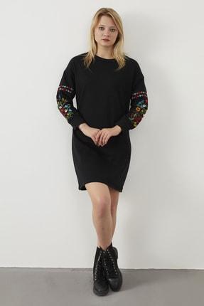 ELBİSENN Kadın Siyah Kolları Nakış Detay Spor Elbise 4