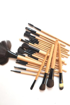 Gold Bambu Makyaj Fırça Seti - Profesyonel Çantalı 24 Parça 2170004102036 1